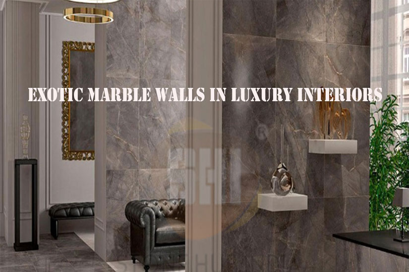 Exotic marble walls in luxury interiors